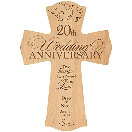 Amazon.com: Personalized 20th Wedding Anniversary Wood Wall Cross ...
