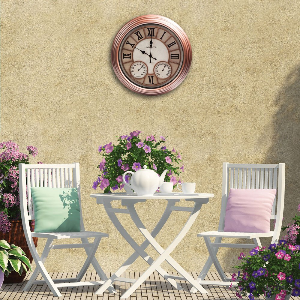 Amazon.com : AcuRite 70561 Metal Outdoor Clock with Thermometer and ...