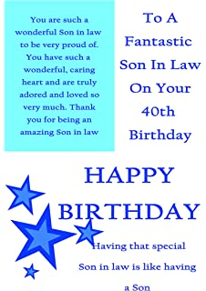 Son In Law 40th Birthday Card With Removable Laminate