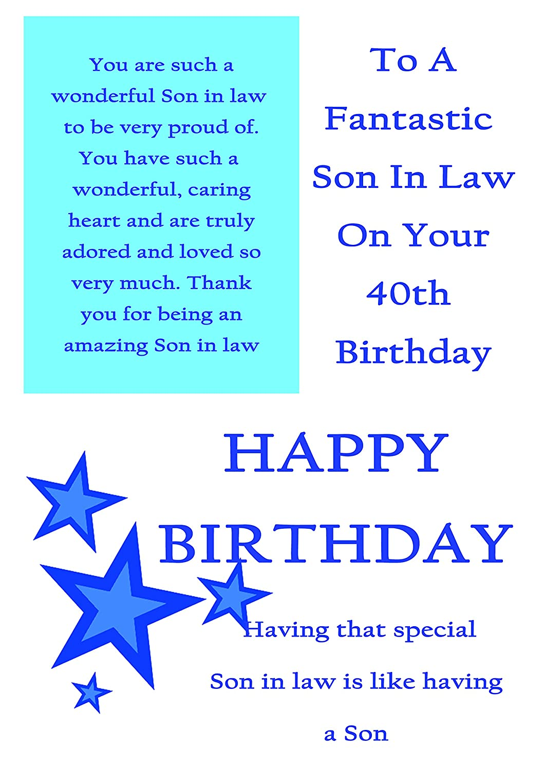 Son In Law 40th Birthday Card With Removable Laminate Amazoncouk Office Products