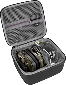ProCase Hard Carrying Case for Howard Leight Impact Sport Electronic Earmuff and Genesis Sharp-Shooter Safety Eyewear Glasses -Black