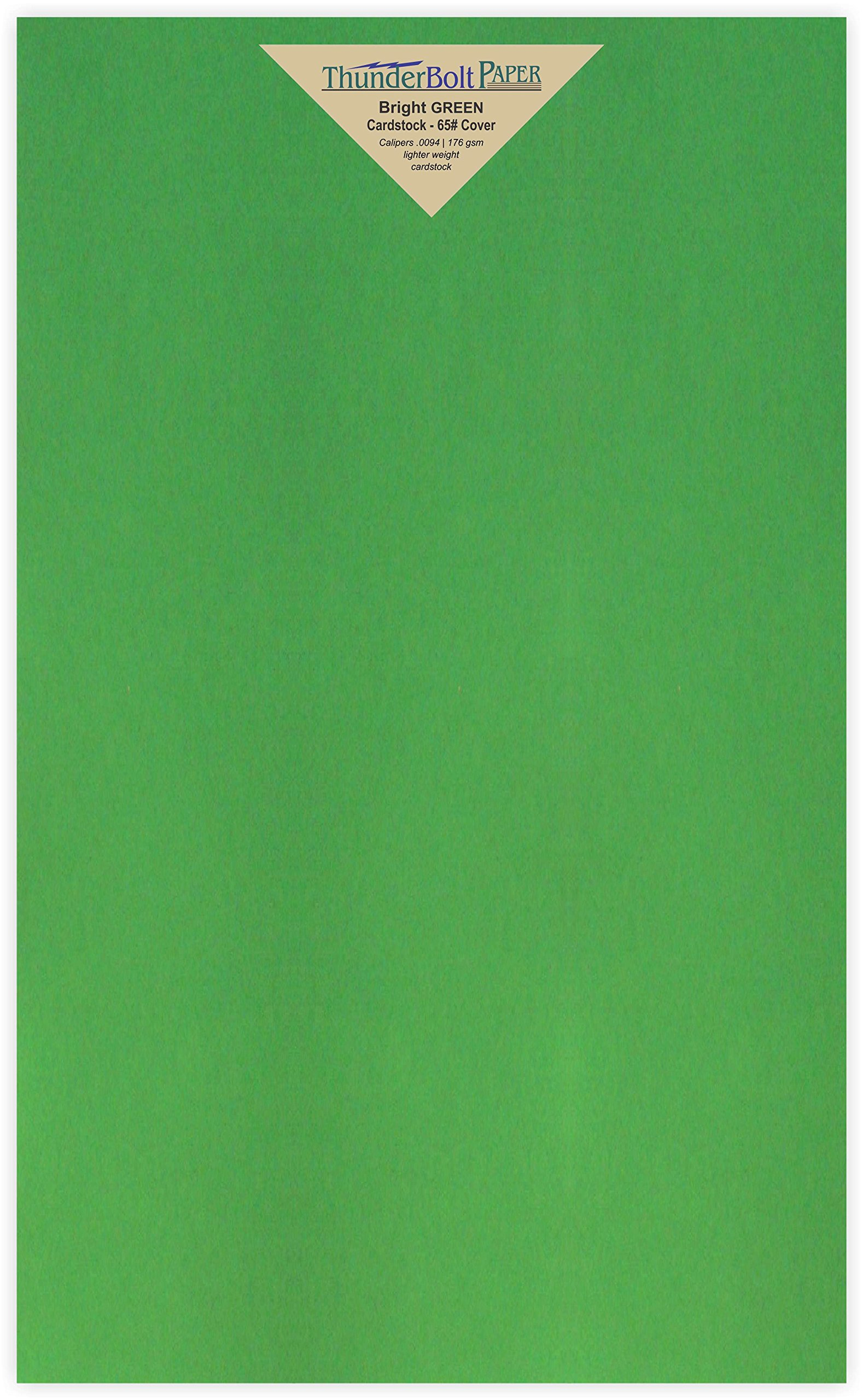 50 Bright Green 65lb Cover Card Paper - 8.5'' X 14'' (8.5X14 Inches) Legal Menu Size - 65 lb/pound Light Weight Cardstock - Quality Printable Smooth Surface for Bright Colorful Results