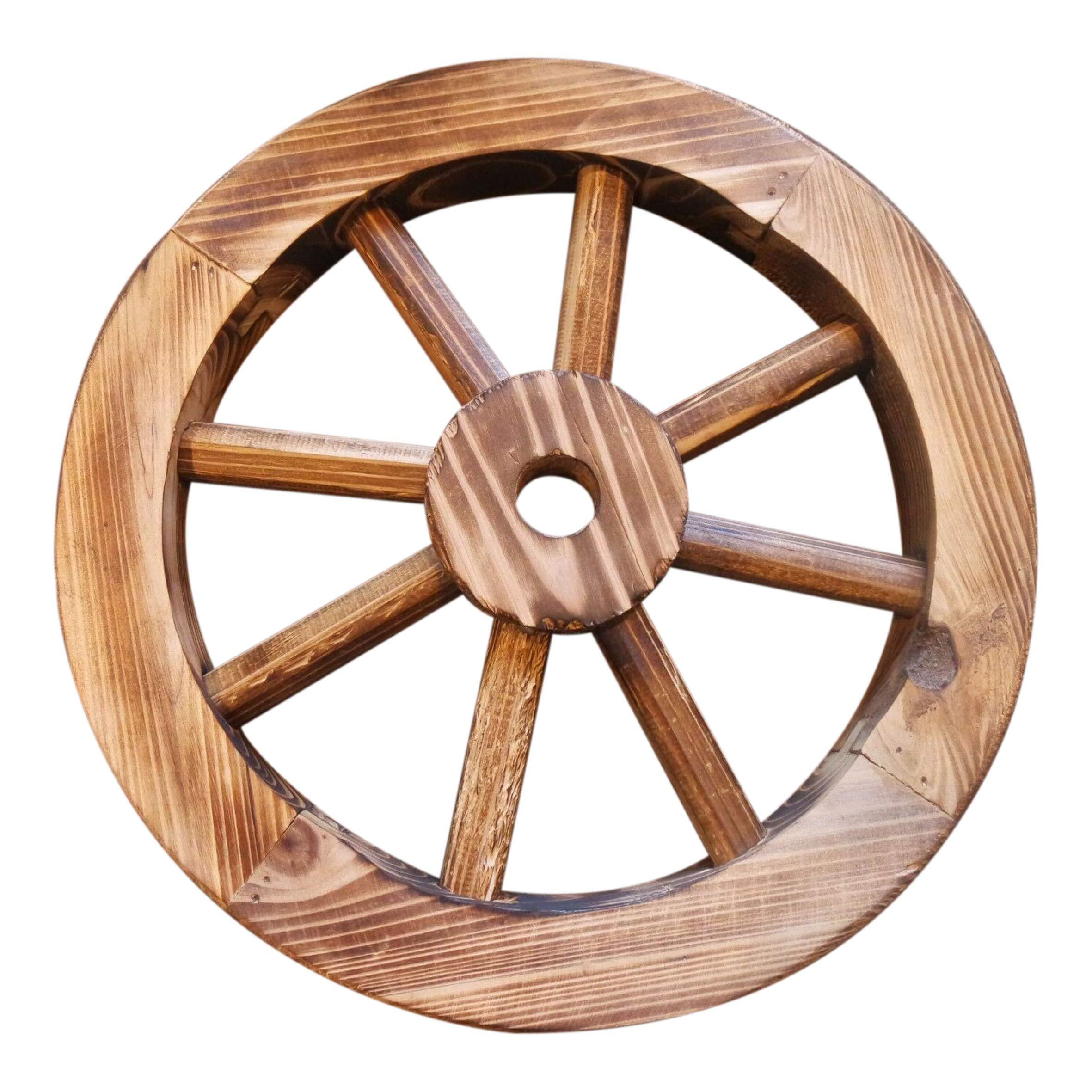 Galapagoz Wooden Wagon Wheels Burnt Wood Wheel Look Garden Decor Table Centerpiece Decorative 12'' 2 Pack US by Galapagoz (Image #8)