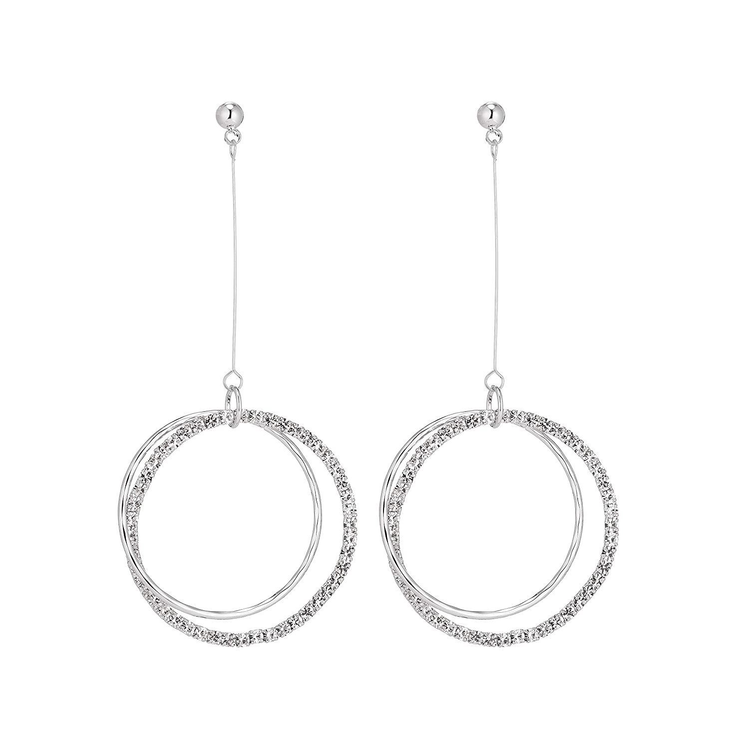 Dongstar Cubic-Zirconia Crystal Double Hoop Premium Quality Drop and Dangle Copper Earrings