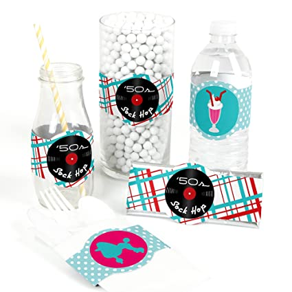 50 S Sock Hop Diy Party Supplies 1950s Rock N Roll Party Diy Wrapper Favors Decorations Set Of 15