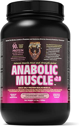 Healthy N Fit Anabolic Muscle Strawberry 3.5 lb – Natural Muscle Mass and Strength Gainer