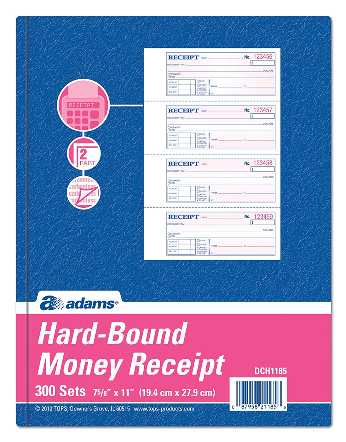 Adams Hardbound Receipt Book, 7.63 x 11 Inches, 2-Part, Carbonless, White/Canary, 4 Form Sets per Page, 300 Sets per Book (DCH1185) TOPS Business Forms Inc.
