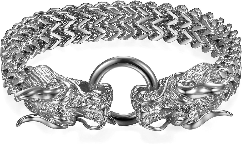 Flongo Bracelet Manchette en Acier Inoxydable avec Diff/érentes D/écoration Mod/èle R/étro Punk Rock Hip Hop pour Homme Biker