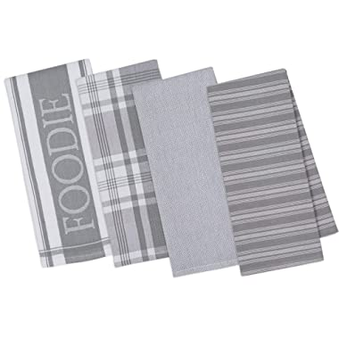 DII Assorted Decorative Kitchen Dish Towels Foodie Set, Ultra Absorbent for Washing and Drying (18x28 ) Granite, Set of 4