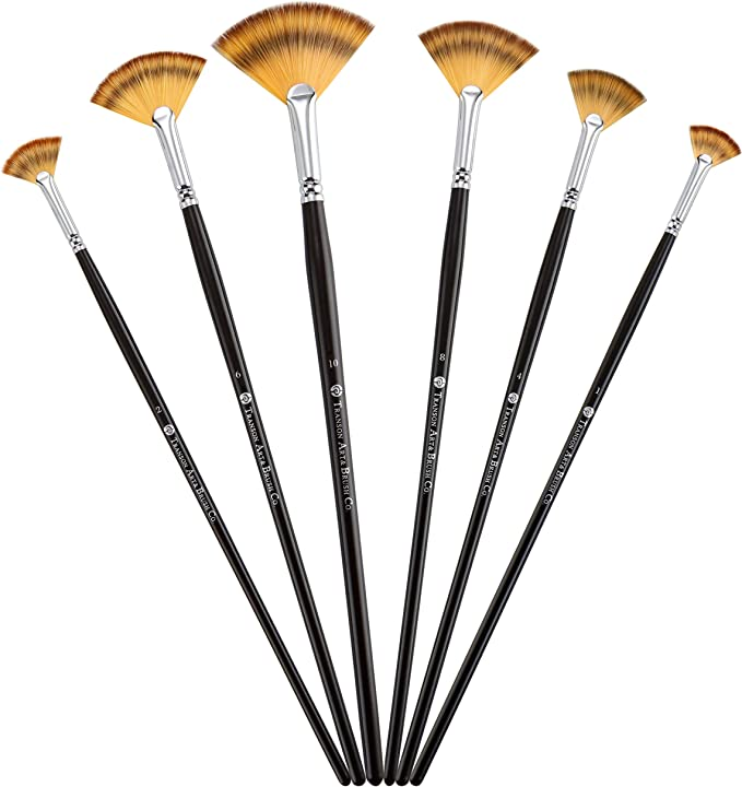 Fan Brush Pen Set Wooden Handle Acrylic Water Oil  Painting Artist Brushes FS