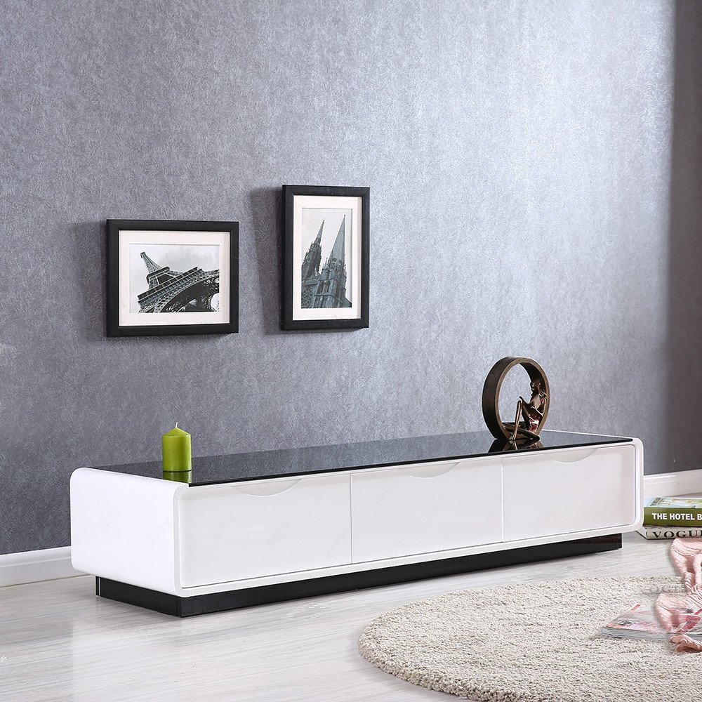 Living Room Furniture White Gloss Uenjoy Gloss Coffee Table White With Drawers And Black Tempered