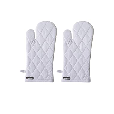 Set Of 2 Oven Mitts, Chambray Grey, 100% Cotton, 7 x 13, Heat Resistant, Eco Friendly And Safe Gloves, Mittens suitable For All Household Ovens