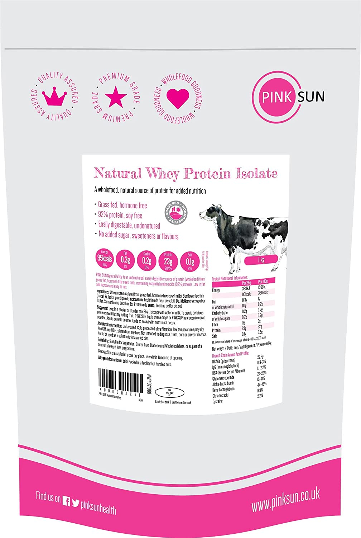 PINK SUN Natural Whey Aislado de Proteína de Suero 1kg Hierba Alimentada sin Hormonas Neutro sin Sabor sin Gluten sin Soja Whey Protein Isolate Powder (92% protein) Grass fed Unflavoured 1000g
