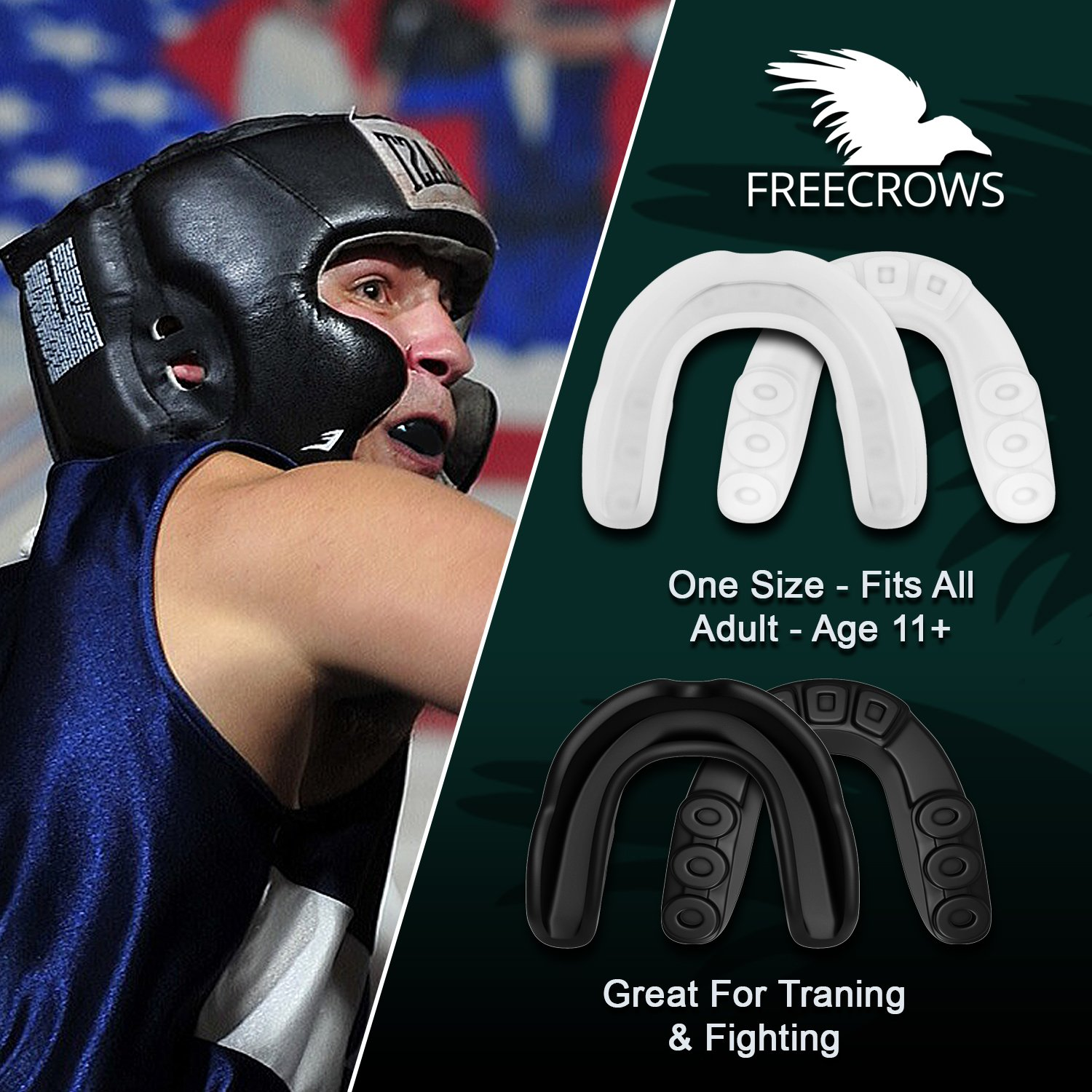MMA Mouthguard / Adult Mouth Guard - 2x Gum Shield Teeth Protection for all Contact Sports and Game - UFC , Boxing , Taekwondo , Martial Arts , etc.- Two Mouthguards for Women and Men by Freecrows by FREECROWS (Image #2)