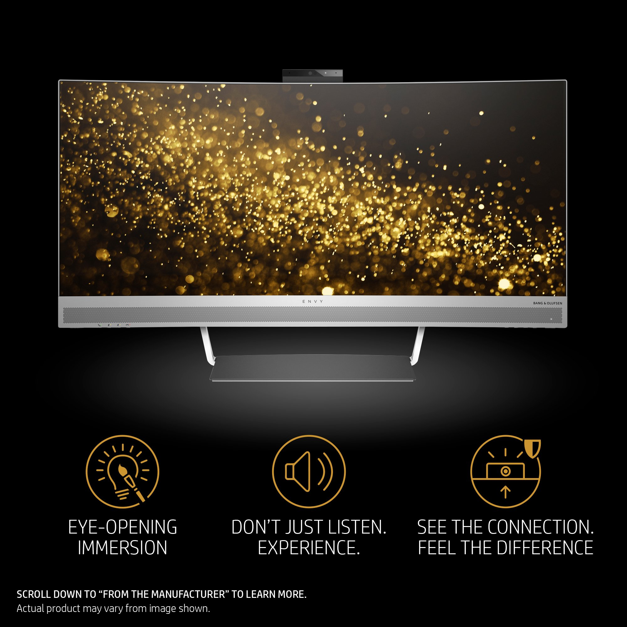 HP ENVY 34-inch Ultra WQHD Curved Monitor with AMD Freesync Technology, Webcam and Audio by Bang & Olufsen (Black/Silver) by HP (Image #4)