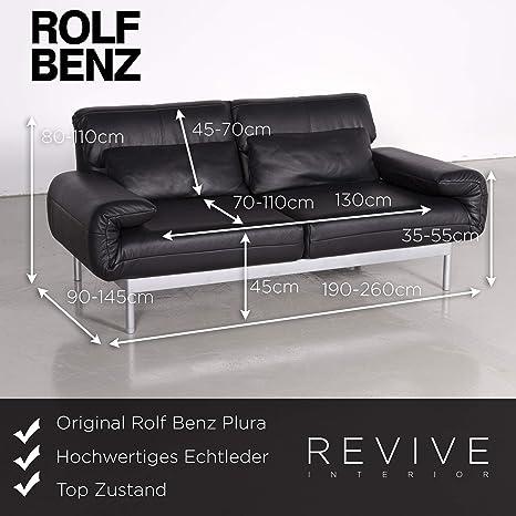 Rolf Benz Plura Designer Leder Sofa Schwarz Echtleder ...