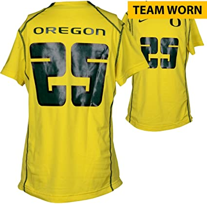 promo code a96db 5d4d7 Amazon.com: Oregon Ducks Team-Worn #25 Yellow And Green ...