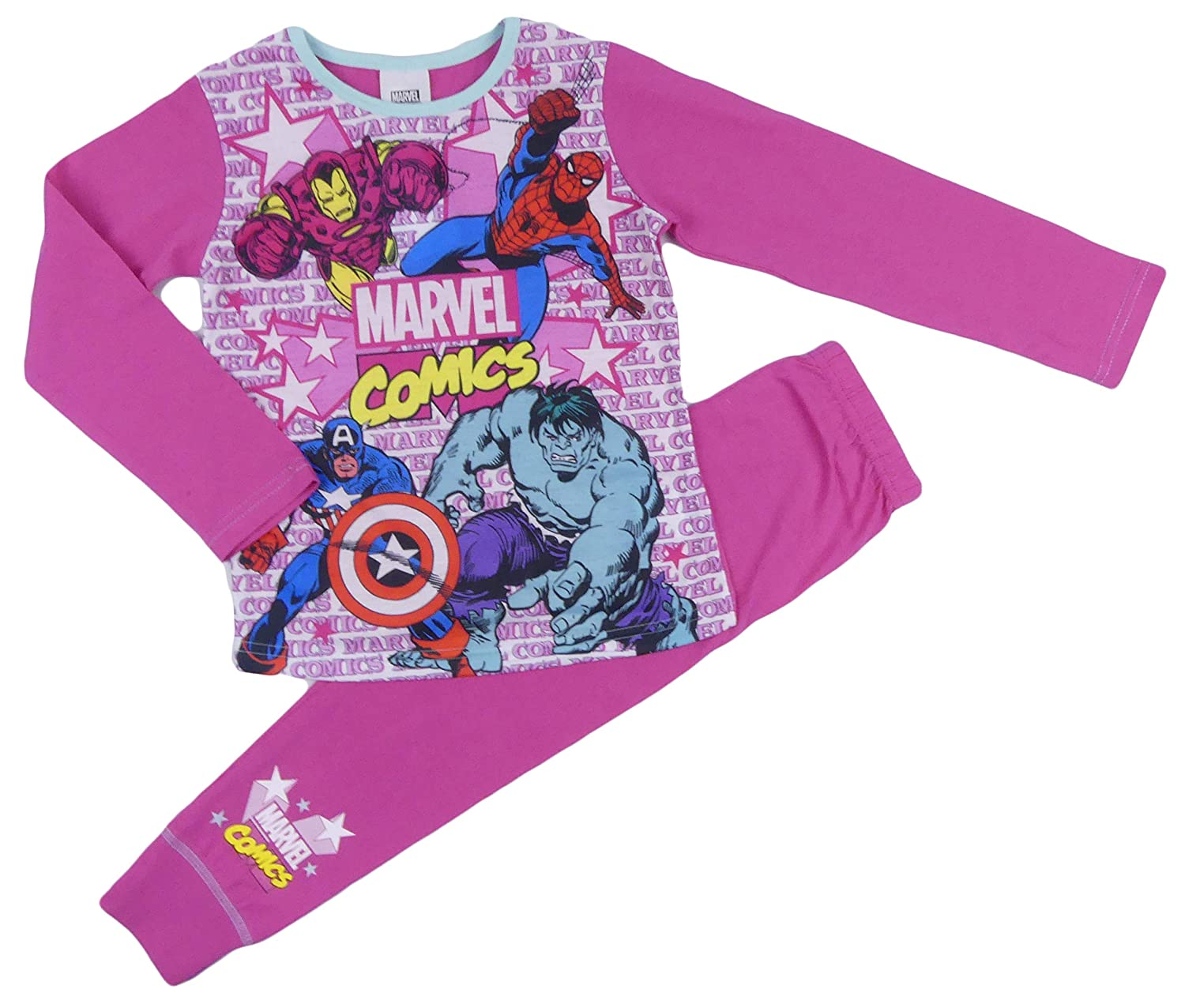 Girls Pyjamas PJs DC and Marvel Super Hero Girls Wonder Woman Super Girl 4-5 to 9-10 Years