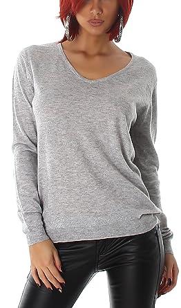 Jela London Damen Feinstrick Pullover Langarmshirt mit Glitzer Streifen (Einheitsgröße 36 38 40)