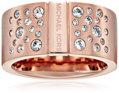9ac3469fcec8b Amazon.com  Michael Kors Rose Gold Tone Scattered Pave Ring