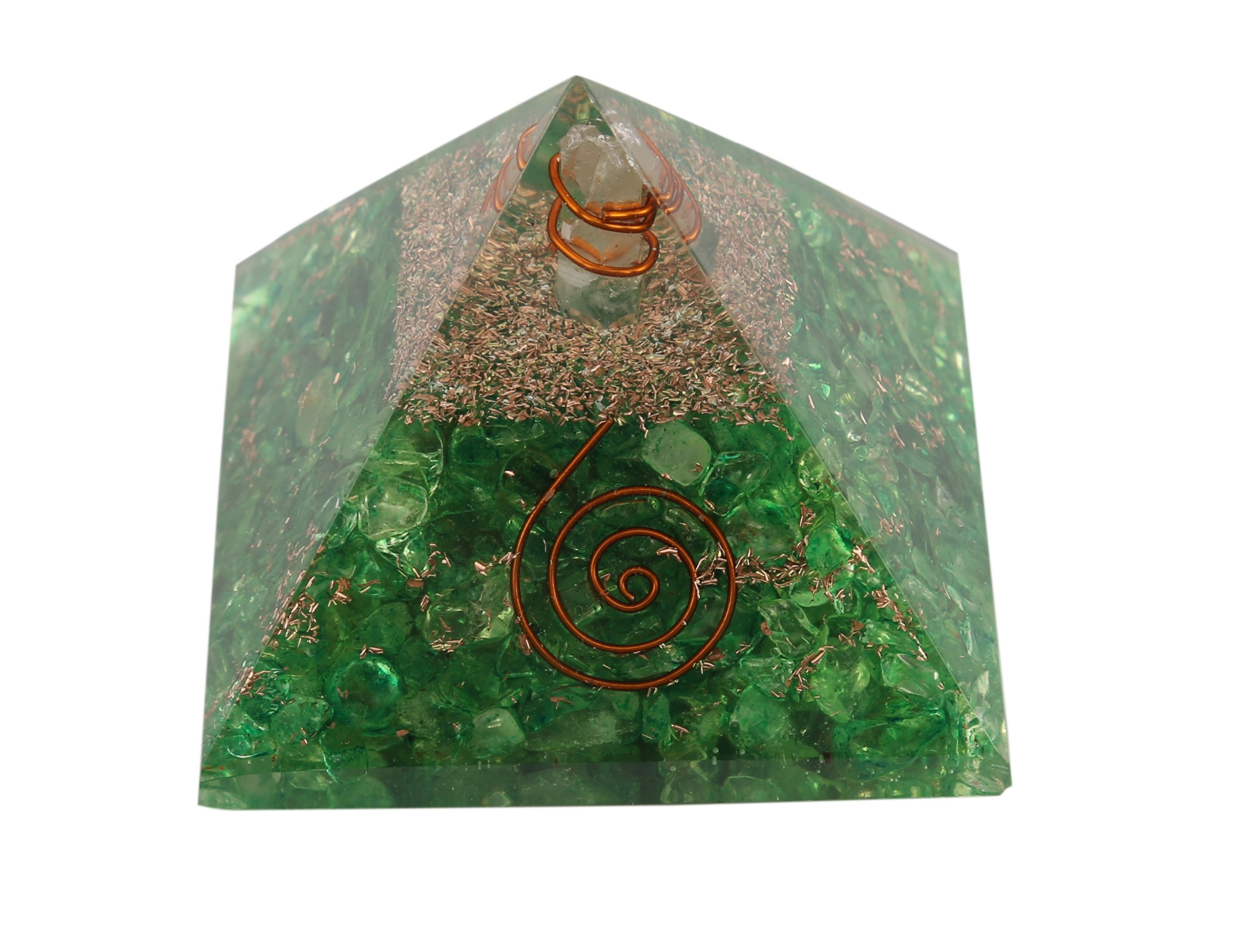 Aatm Reiki Energized Chakra Healing Green Aventurine Orgone Pyramid With Clear Crystal Gemstone/EMF Protection Meditation Yoga Energy Generator