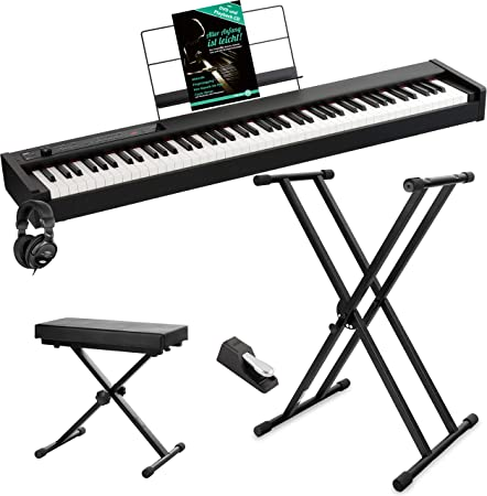 Korg D1 - Piano digital (incluye pedal, atril, auriculares ...