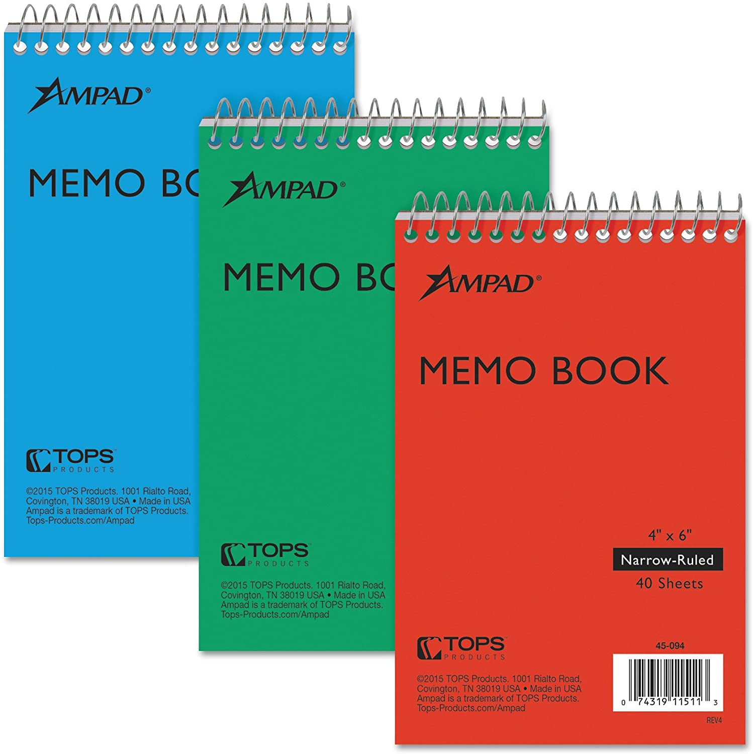 Single Wire Recycled Red//Blue//Green Assorted Covers,3 Notebooks per Pack Ampad Efficiency Pocket Notebook Top Open 45-094 4 X 6 Inches