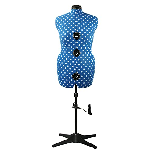 Adjustoform Adjustable Dressmaker's Dummy, Medium UK 16-20, Duck Egg Blue Polka Dot