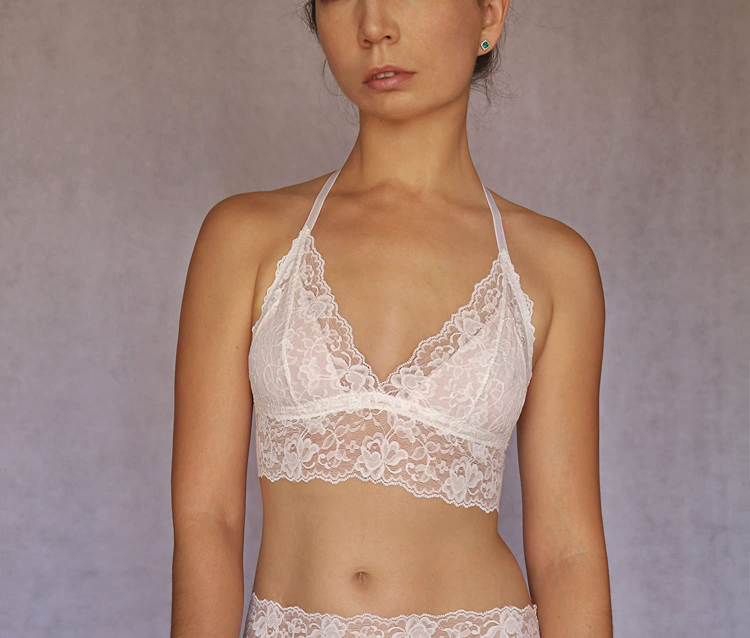 38e06d0326 Amazon.com  Ivory Lace Bralette. Bridal Lingerie. Wedding Underwear. Floral  Embroidered Lace Wireless Bra Top.  Handmade
