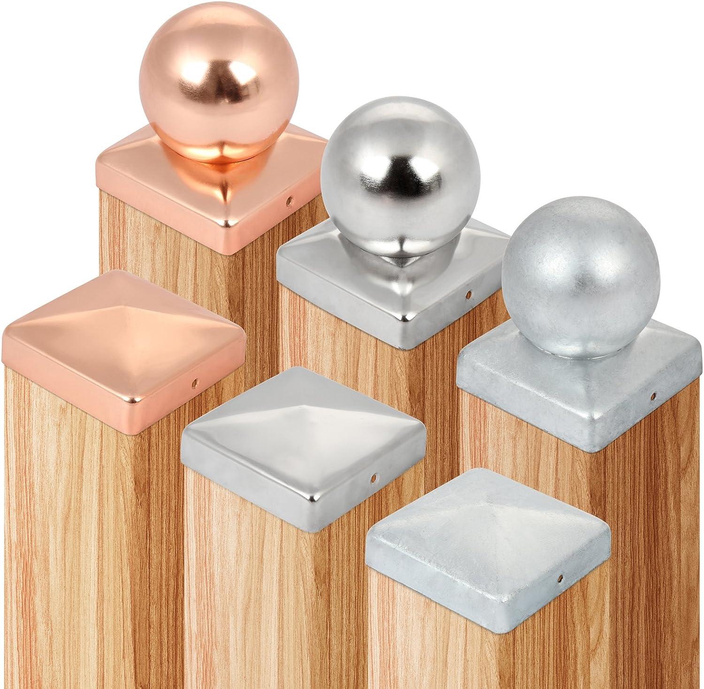 Jago Copripalo set di copripalo a sfera per pali di legno in rame 101 mm set da 6