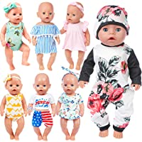 ZITA ELEMENT 7 Sets 14 - 16 Inch Baby Doll Clothes Dress Swimsuits Jumpsuits Headbands for 43cm New Born Baby Doll, 15…