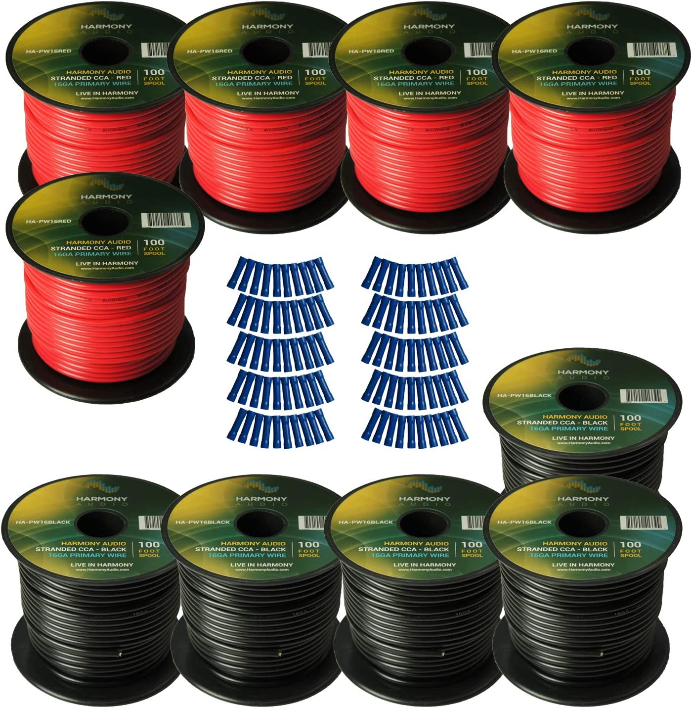 Harmony Audio Primary Single Conductor 16 Gauge Power or Ground Wire - 10 Rolls - 1000 Feet - Red & Black for Car Audio/Trailer/Model Train/Remote 81aX9WuEZkL