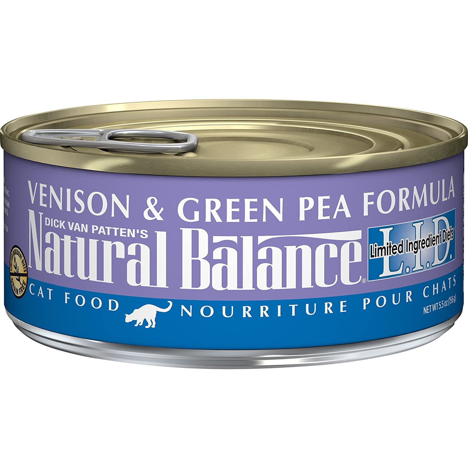 5.5Ounce Natural Balance L.I.D. Limited Ingredient Diets Canned Wet Cat Food, Venison & Green Pea Formula, 5.5Ounce Can (Pack of 24)