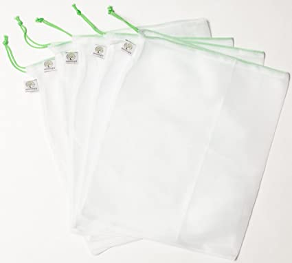 Reusable Produce Bags - Set of 5 Strong Washable Polyester Mesh. Grocery 3a4902aa779a8