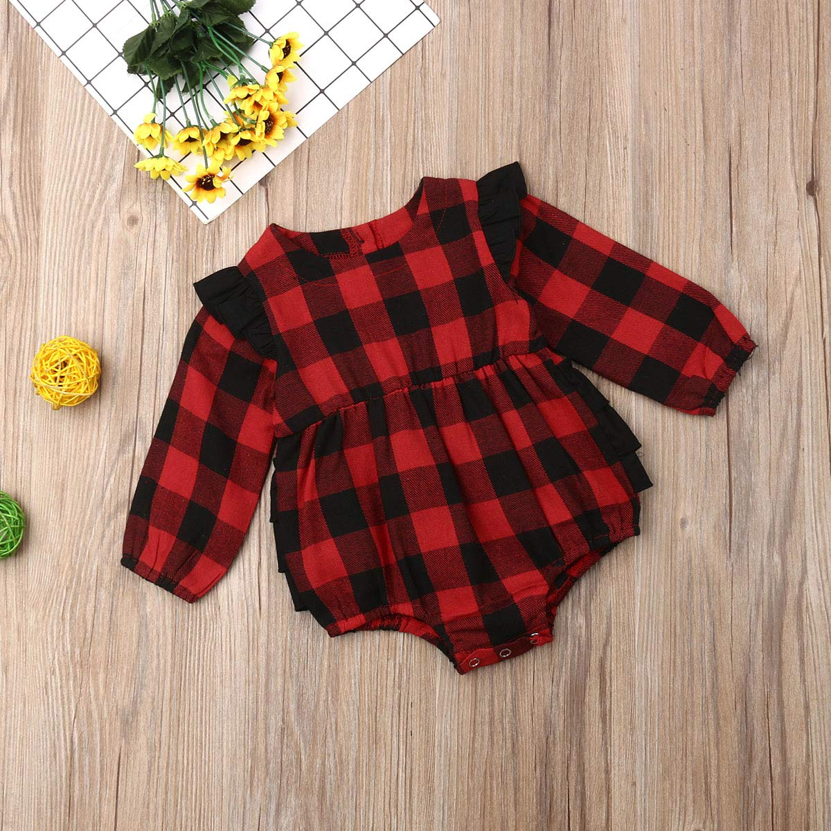 LuLuBaby Baby Boy Girl Flannel Print Plaid Shirt Long Sleeve Button Romper Bodysuit Clothes