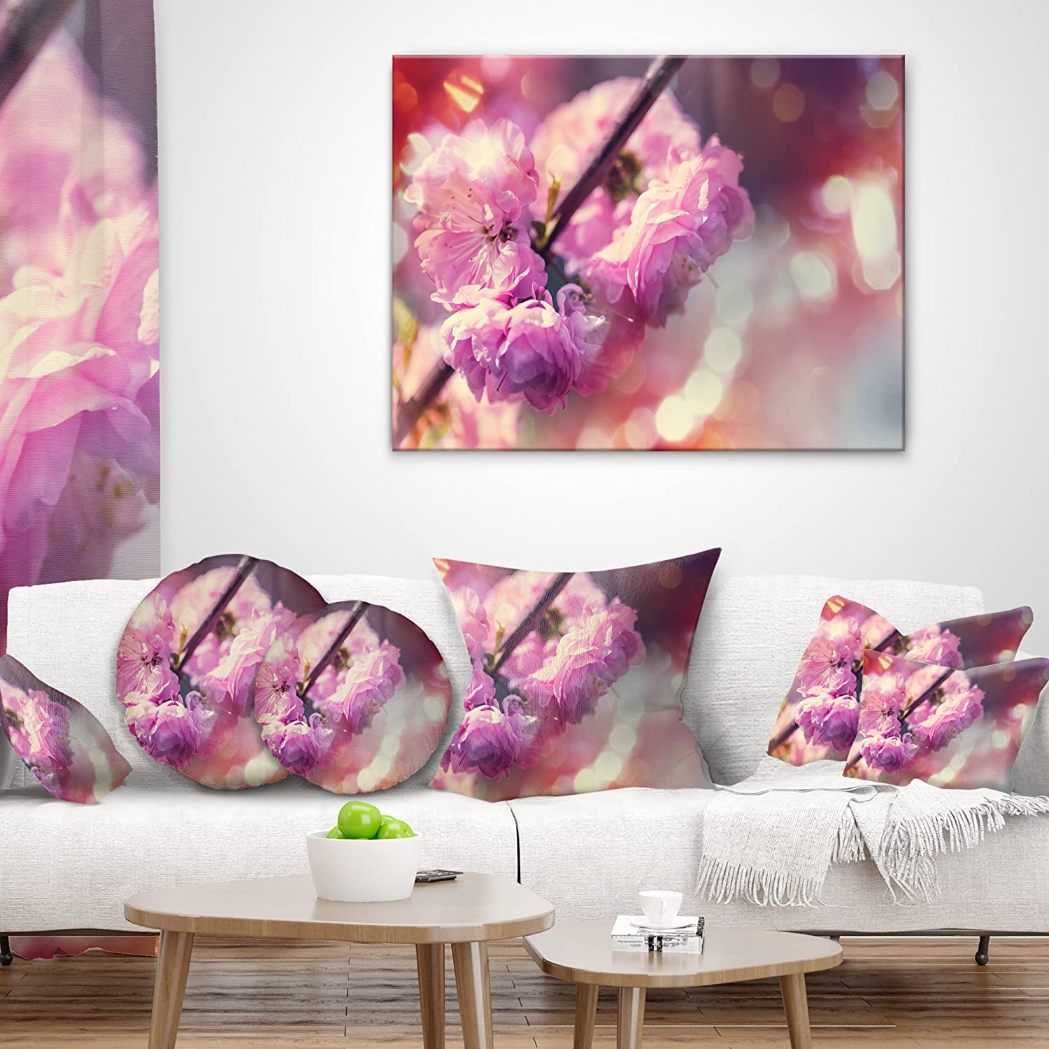 Designart CU12416-26-26 Beautiful Almond Tree Flowers Floral Throw Cushion Pillow Cover for Living Room Sofa 26 in x 26 in.
