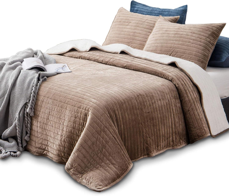 KASENTEX Plush Poly Velvet Lavish Design Quilt Set with Reversible Shu Velveteen Sherpa - Luxurious Bedding Soft & Warm Comforter Machine Washable Comforter (Taupe Brown, Queen + 2 Shams)