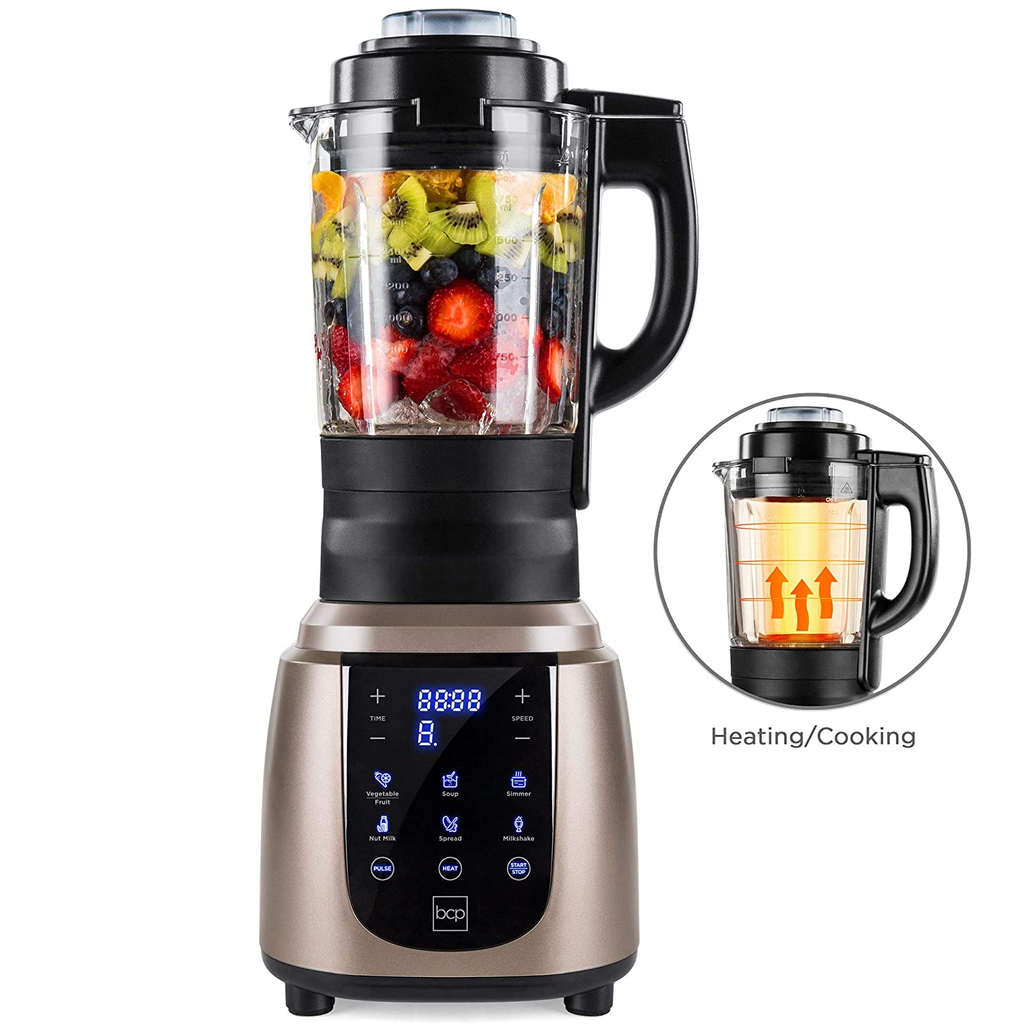Best Choice Products 1200W 1.8L Multifunctional High-Speed Digital Professional Kitchen Smoothie Blender w Heating Function, Auto-Clean, Glass Jar, Up To 42,000RPM, Gold