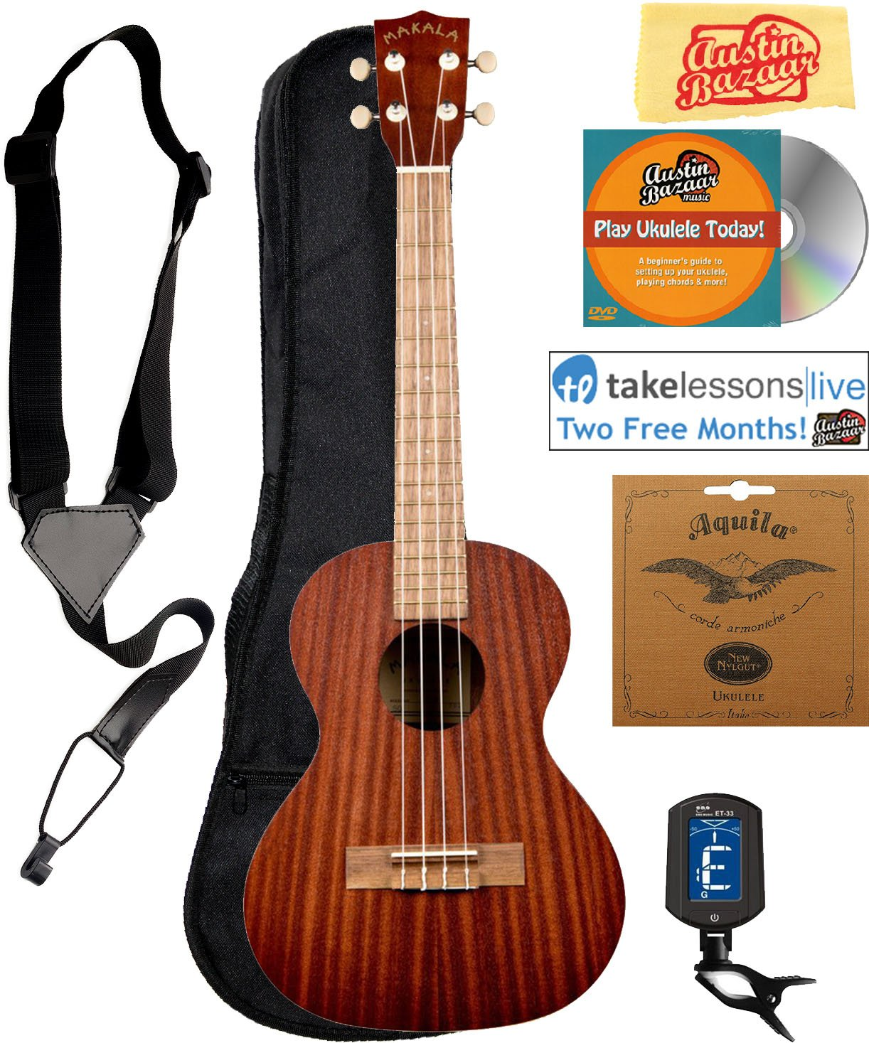 4. Kala MK-T Makala Tenor Ukulele Bundle with Gig Bag
