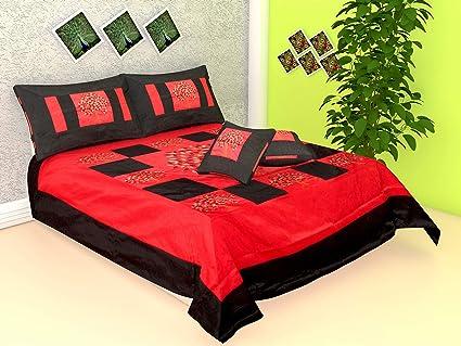 Buy Radhika Jaipur 100% Silk Color Tree of Leaf Red Black Tradition