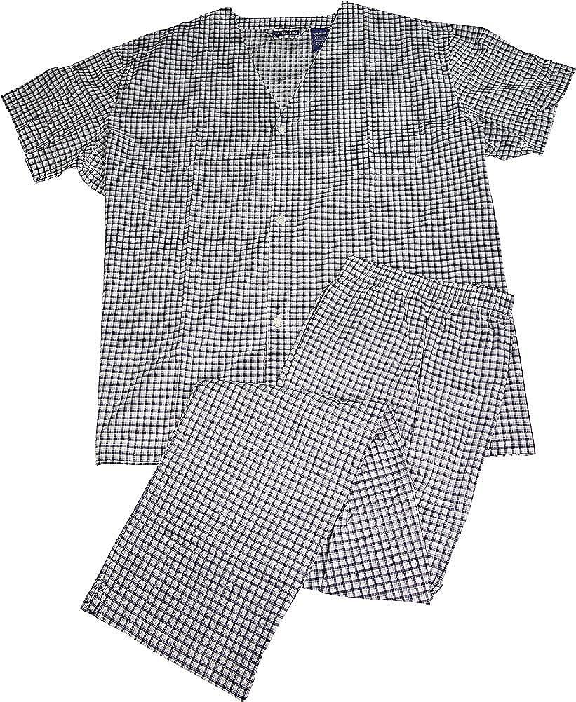Fruit of the Loom - Mens Short Sleeve Long Leg Plaid Pajamas White Navy 39597-XXXXX