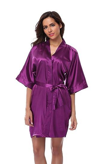 Vogue Bridal Women s Kimono Robe Solid Color Short Silk Bathrobe ... 30f13292a