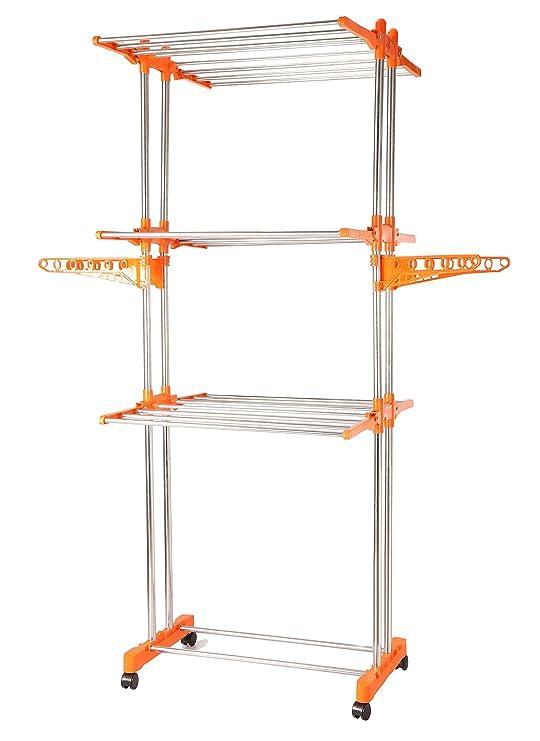 BMS Lifestyle 2-Pole Steel Drying Rack, Orange Drying Racks at amazon