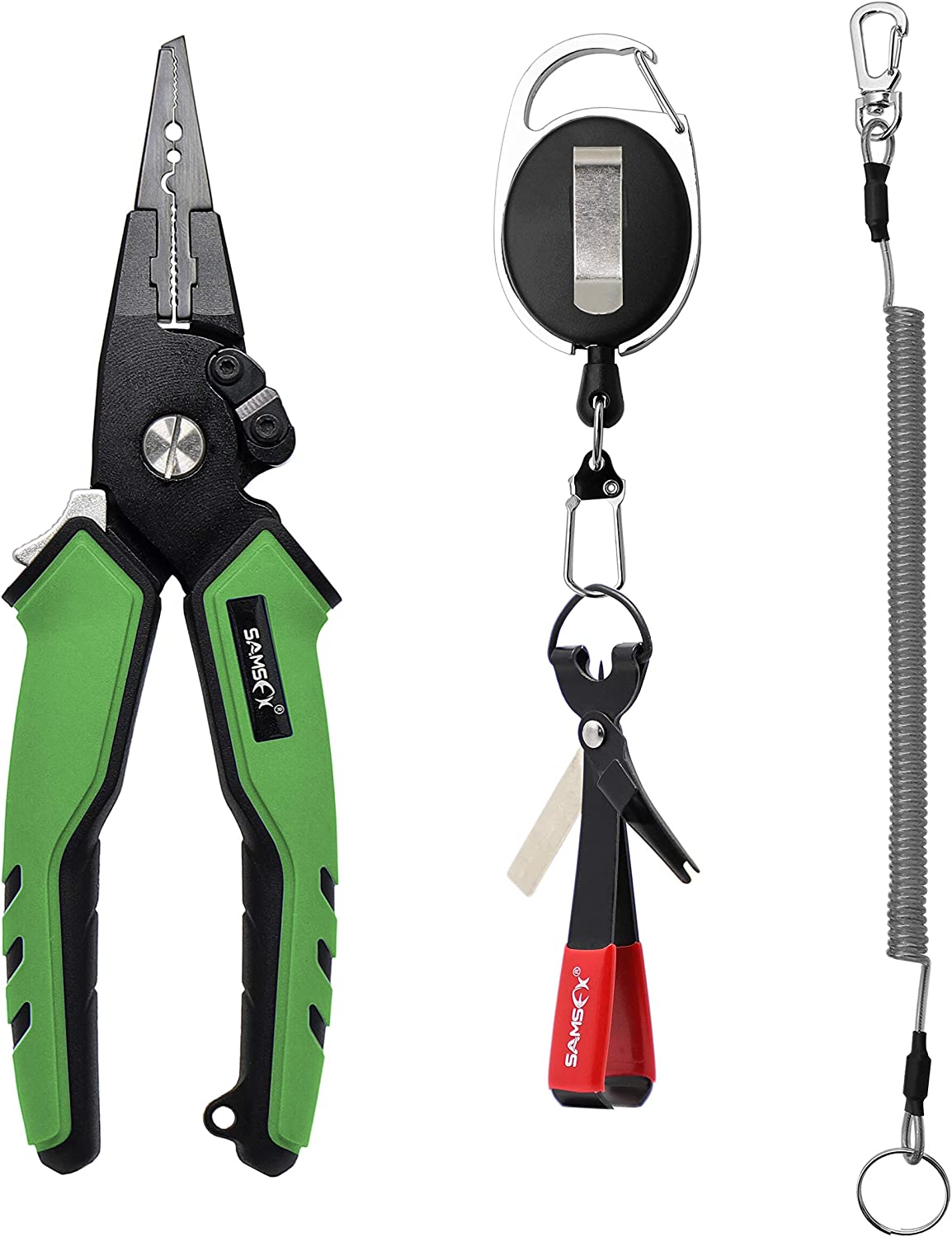SAMSFX 7 Aluminum Fishing Pliers Saltwater with Coiled Lanyard and Sheath, Quick Knot Tying Tool