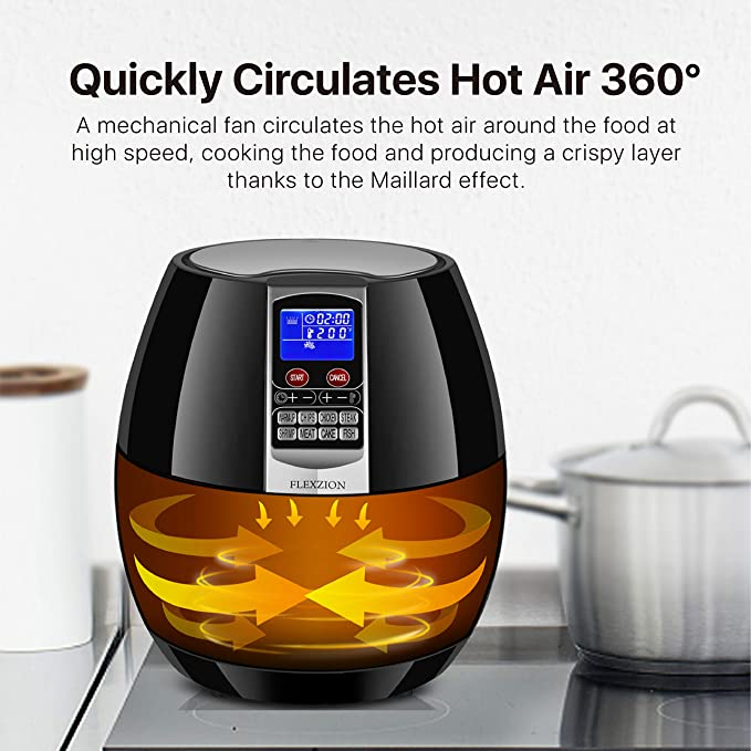 Flexzion Electric Air Fryer Cooker Healthy Oil Less Dry Fryer Hot Air Steam