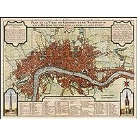 Reproducción de mapa antiguo Londres 1720s, 18th Century