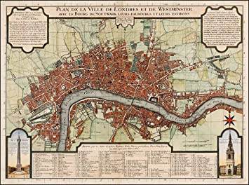 Map Of City Of London Uk.Reproduction Antique Map Of City Of London 1720s 18th Century By