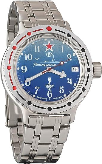 Vostok Amphibian 420289 2416B Reloj de pulsera automático para hombre (sumergible a 200 m), diseño con estilo militar ruso, color azul