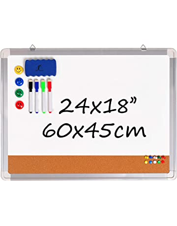 7b2de95443da Pizarra Blanca Magnética con Corcho - Tablero de Pared 60x45cm + 1 Borrador  Magnético, 4