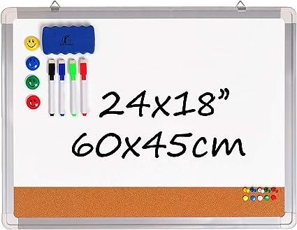 Pizarra Blanca Magnética con Corcho - Tablero de Pared 60x45cm + 1 Borrador Magnético, 4 Rotuladores Borrado en Seco, 4 Imanes y 10 Chinchetas de Colores para Oficina y Cocina: Amazon.es: Oficina y papelería